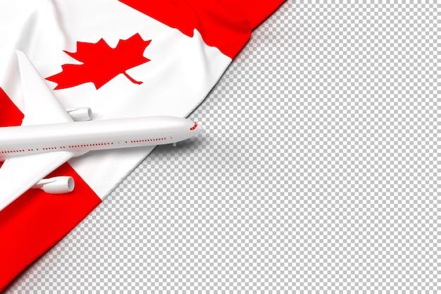 Passagiersvliegtuig en vlag van canada