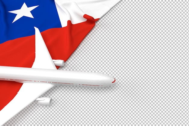Passagiersvliegtuig en vlag van chili