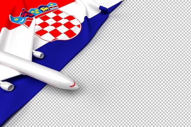 Passagiersvliegtuig en vlag van kroatië