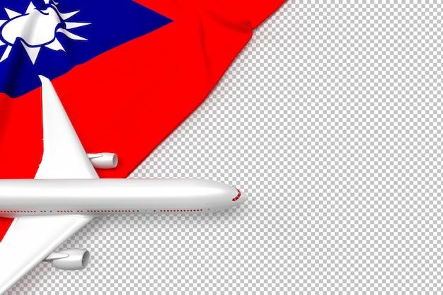 Passagiersvliegtuig en vlag van taiwan