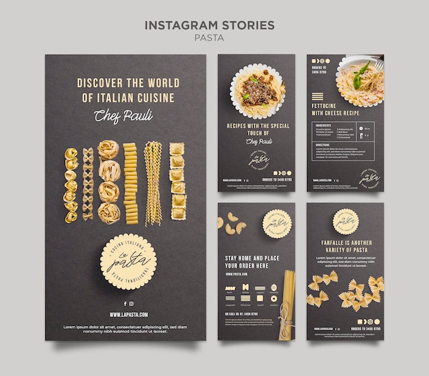 Pasta winkel instagram verhalen sjabloon