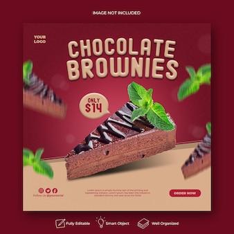 Pastel de brownies comida publicación de instagram