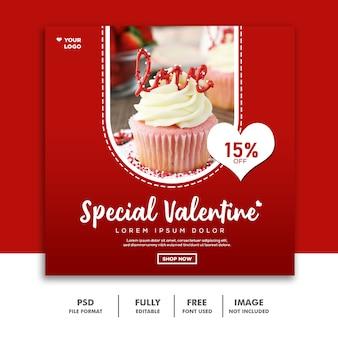 Pastel comida san valentín banner redes sociales publicar instagram rojo especial