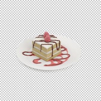 Pastel isométrico en un plato
