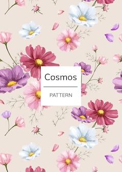 Patrón de flor de cosmos dibujado a mano