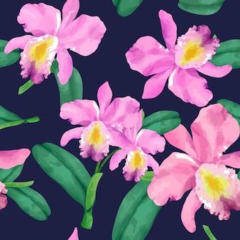 Patrón de flor de orquídea dibujado a mano