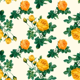 Patrón floral amarillo