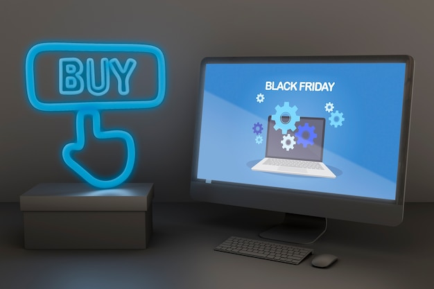 Pc-model met blauwe neonlichten