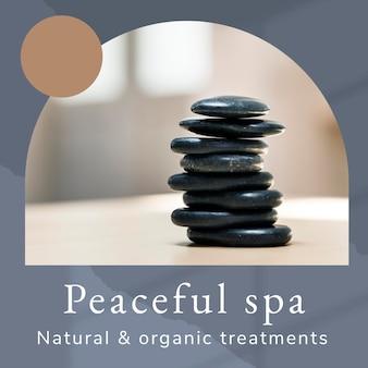 Peaceful spa wellness-sjabloon psd met hotstone-massageachtergrond