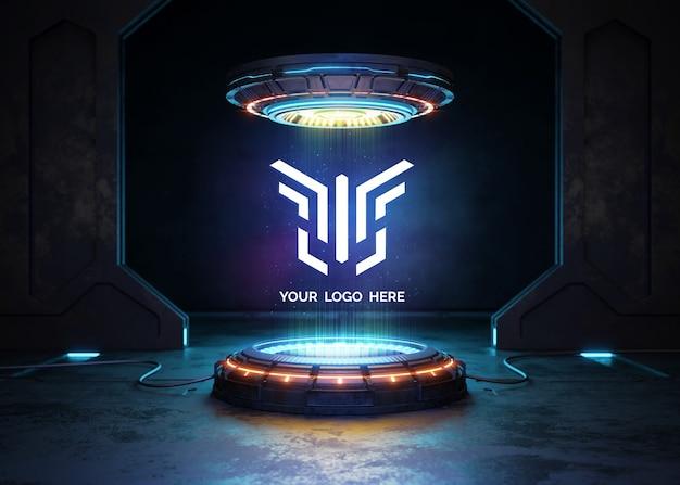Pedestal futurista con maqueta de logo