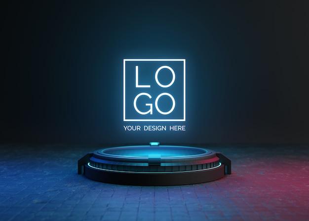 Pedestal futurista para maqueta de logotipo