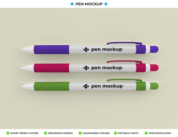 Pen mockup geïsoleerd op zachte kleur achtergrond