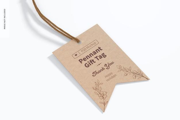 Pennant gift tag mockup, bovenaanzicht