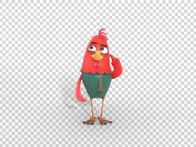 Pensamiento lindo colorido de la ilustración de la mascota del carácter 3d con el fondo transparente