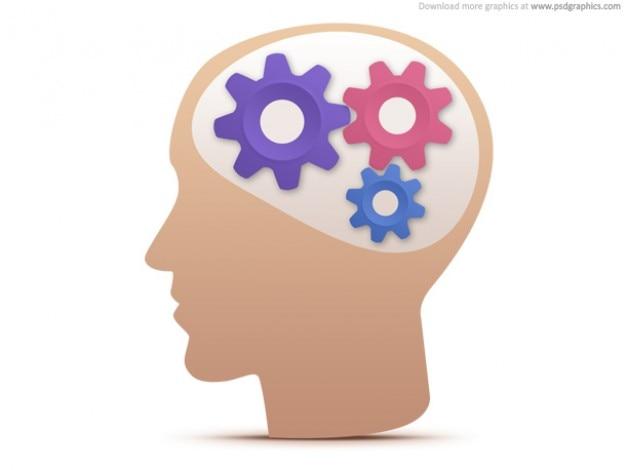 Pensiero creativo, la testa con ingranaggi icona (psd)