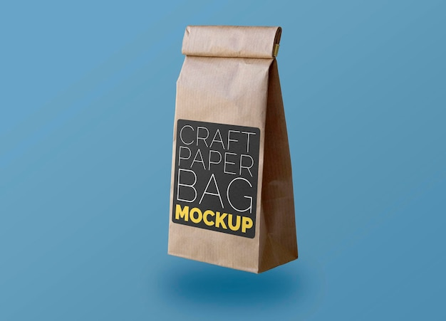 Pequeña bolsa de papel artesanal con maqueta de etiqueta negra