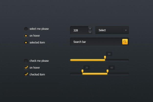 Pequeño kit de interfaz de usuario en el diseño oscuro