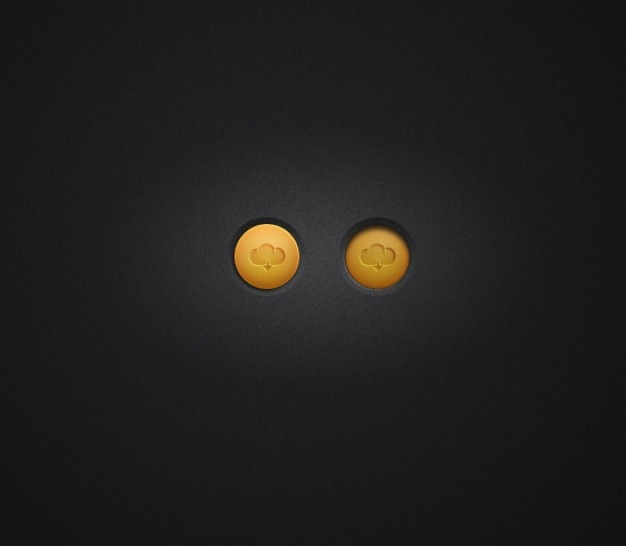Pequeños botones de descarga con nubes de color naranja