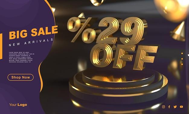 Percentage 29 gouden verkoopbannersjabloon boven gouden voetstuk met donkere achtergrond