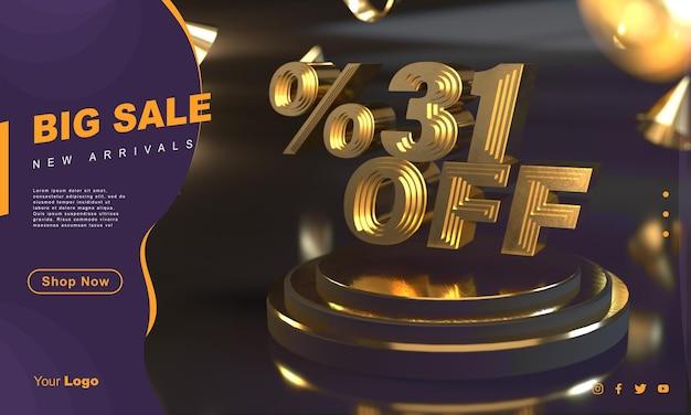 Percentage 31 gouden verkoopbannersjabloon boven gouden voetstuk met donkere achtergrond
