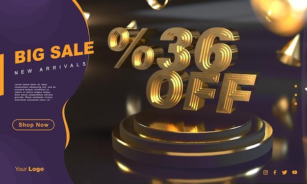 Percentage 36 gouden verkoopbannersjabloon boven gouden voetstuk met donkere achtergrond