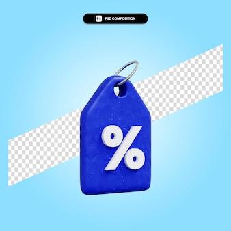 Percentage 3d render illustratie geïsoleerd