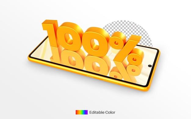 Percentage gouden getal 100% op smartphone 3d-rendering