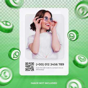 Perfil de icono de banner en etiqueta de renderizado 3d de whatsapp aislado