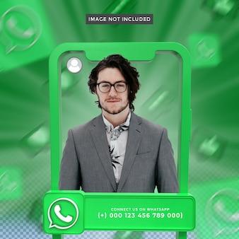 Perfil de icono de banner en el marco de renderizado 3d de whatsapp