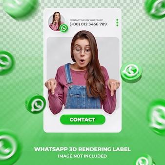 Perfil de icono de banner en plantilla de etiqueta de renderizado 3d de whatsapp