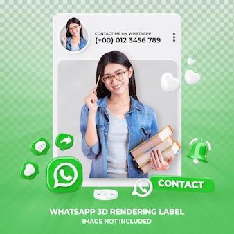 Perfil en la representación 3d de whatsapp aislado
