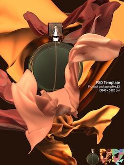 Perfume de lujo con tela flotante 3d render