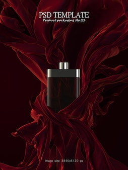 Perfume de lujo con tela roja sobre fondo oscuro render 3d