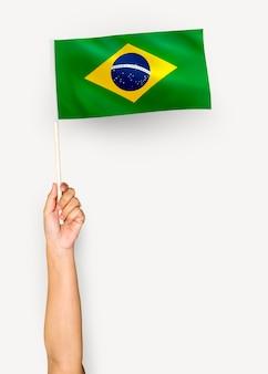 Persona che sventola la bandiera della repubblica federativa del brasile