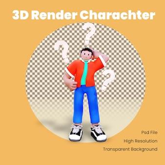 Personaje 3d confundido