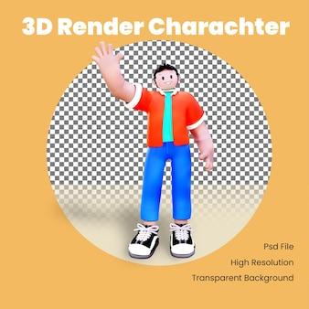 Personaje 3d saludando y sonriendo