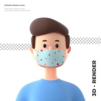 Personaje de dibujos animados en 3d con maqueta de mascarilla