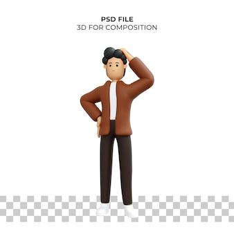 Personaje de dibujos animados 3d pose confundida premium psd