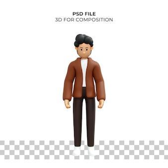 Personaje de dibujos animados 3d pose triste psd premium