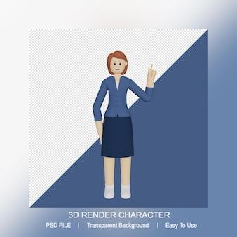 Personaje femenino 3d apuntando hacia arriba