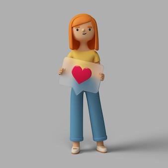 Personaje femenino 3d con botón de corazón de redes sociales