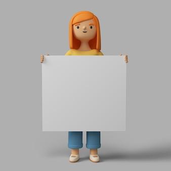 Personaje femenino 3d con cartel en blanco