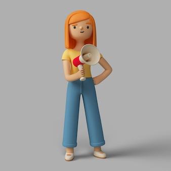 Personaje femenino 3d hablando por megáfono
