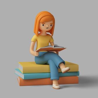 Personaje femenino 3d leyendo un libro