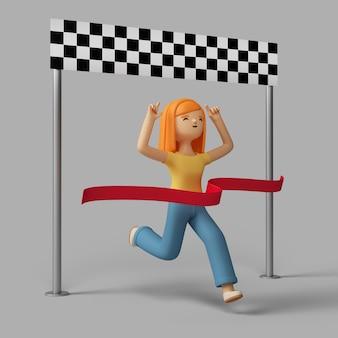 Personaje femenino 3d llegando a la línea de meta