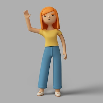 Personaje femenino 3d que agita