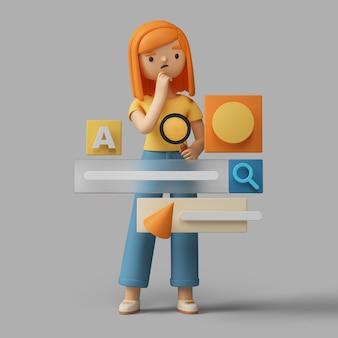 personaje femenino 3d que busca en línea con la ayuda de una barra de búsqueda