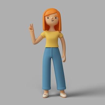 Personaje femenino 3d que muestra el signo de la paz
