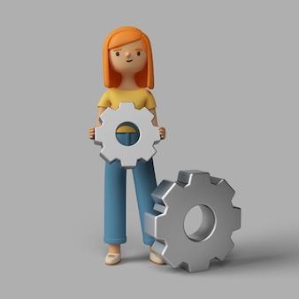 Personaje femenino 3d con ruedas dentadas