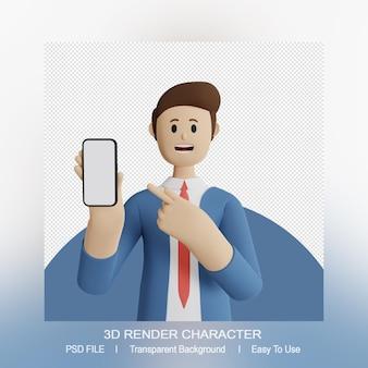 Personaje de hombre 3d apuntando al teléfono inteligente
